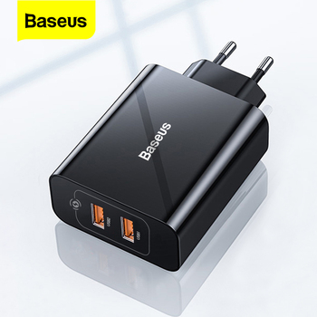 Baseus 18W Dual USB Charger Quick Charge QC PD 3.0 Type C Fast Charging For iPhone Xiaomi QC3.0 USB C Wall Mobile Phone Charger 18w fast usb charger adapter support quick charge 3 0 usb type c pd charger mini portable phone charger for iphone huawei xiaomi
