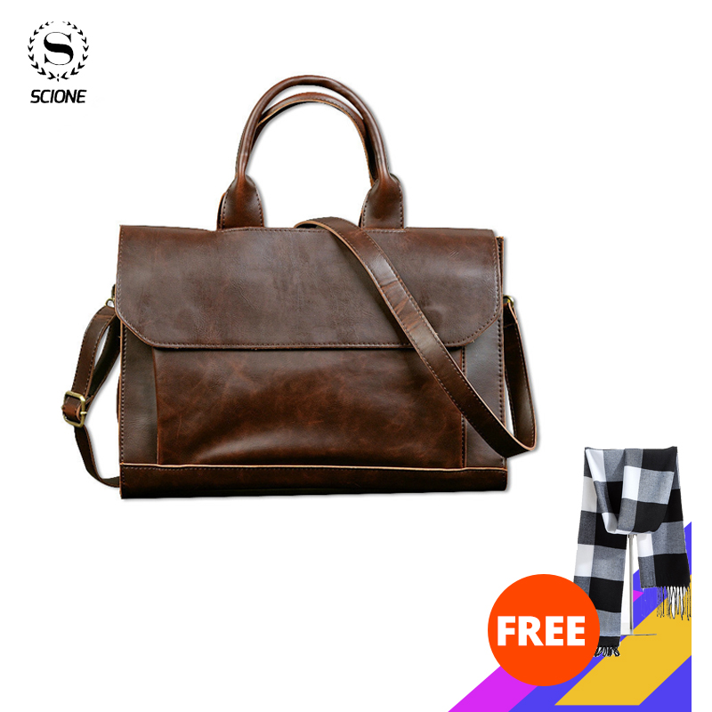 Scione Men's Leather Laptop Bag Business Men's Briefcase Bag Laptop Messeng Bag Man Leather Office Large Capacity Handbag