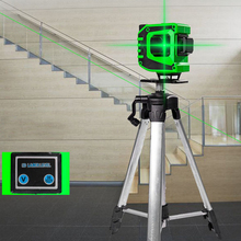 360° Rotation Laser Level 12 Lines Wireless Remote 3D Self-Leveling Horizontal Vertical Cross Green Laser Beam Line Laser Meter