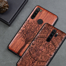 Custom Carved Wood Case For Xiaomi redmi note 8 pro Case funda on Xiaomi redmi note 8 note 7 K20 Pro Wooden TPU Protective Case