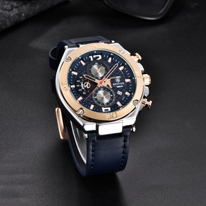 Image 2 - BENYAR ブランド高級メンズ腕時計レザークォーツ時計ファッションクロノグラフ腕時計男性スポーツ軍事レロジオ Masculino