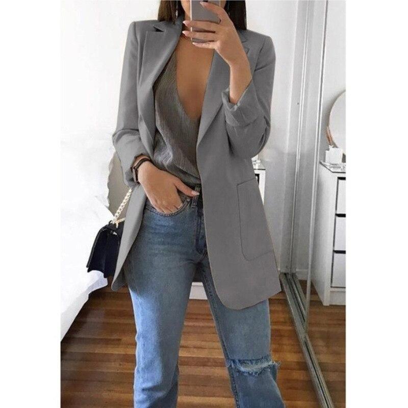 Solid Office Lady Jacket Women Long Blazer Notched Casual Slim Women'S Blazer Long Jacket