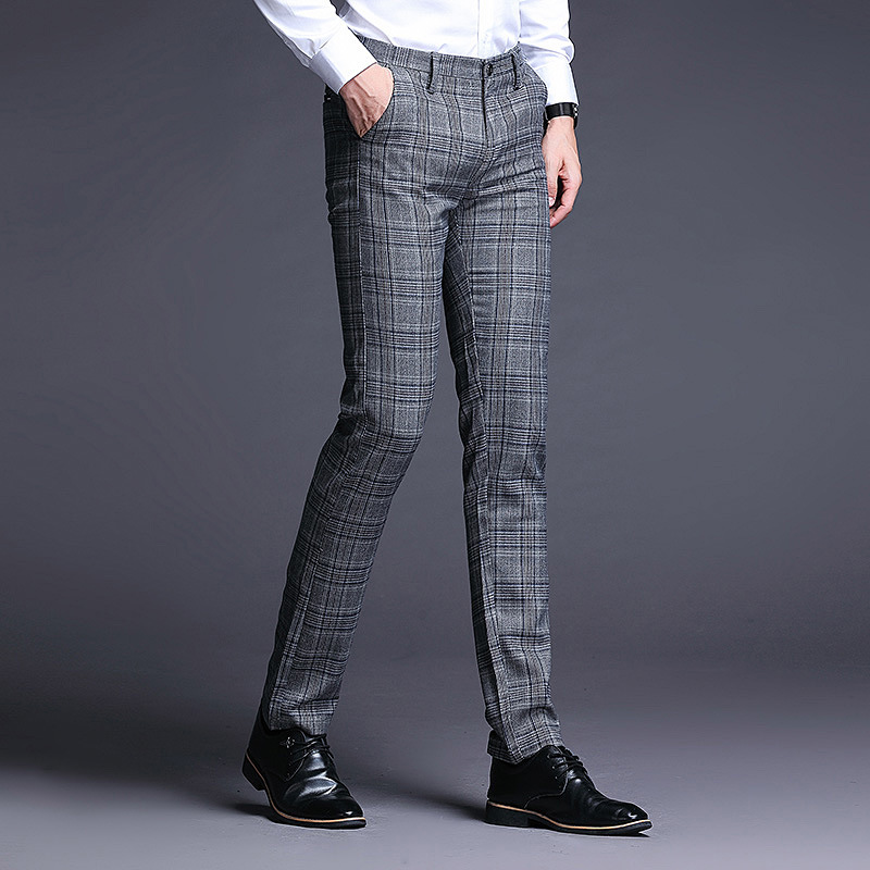 ICPANS Plaid Dress Trousers Men Stretch Skinny Men Suit Pants Length Formal Business Summer Dress Pants For Men Trousers