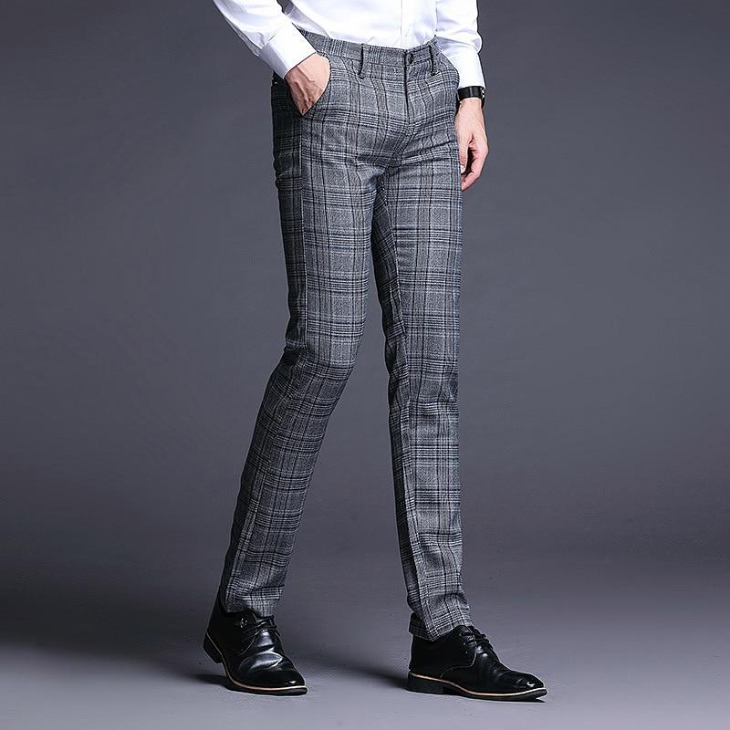 ICPANS Plaid Dress Trousers Men Stretch Skinny Men Suit Pants Length Formal Business Summer Dress Pants For Men Trousers