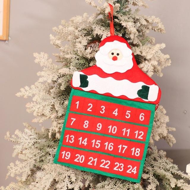 Christmas Countdown Advent Calendar Felt Cloth Santa Claus Snowman Elk Ornaments Xmas Gift New Year Christmas Decoration Prop