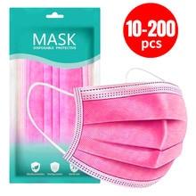 Máscara respirável descartável não tecida cor-de-rosa da máscara protetora de 3 camadas dos pces 10/50/100/200 com a máscara adulta respirável elástica da boca dos earloops