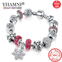 90% OFF! Antique 925 Silver Wedding Vintage Jewelry Charm Bracelet & Bangle With Snowflake Pendant Crystal Beads for Women YB211