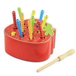 Quebra-cabeça 3d bebê brinquedos de madeira da primeira infância brinquedos educativos pegar jogo de vermes cor cognitiva morango agarrando capacidade engraçado