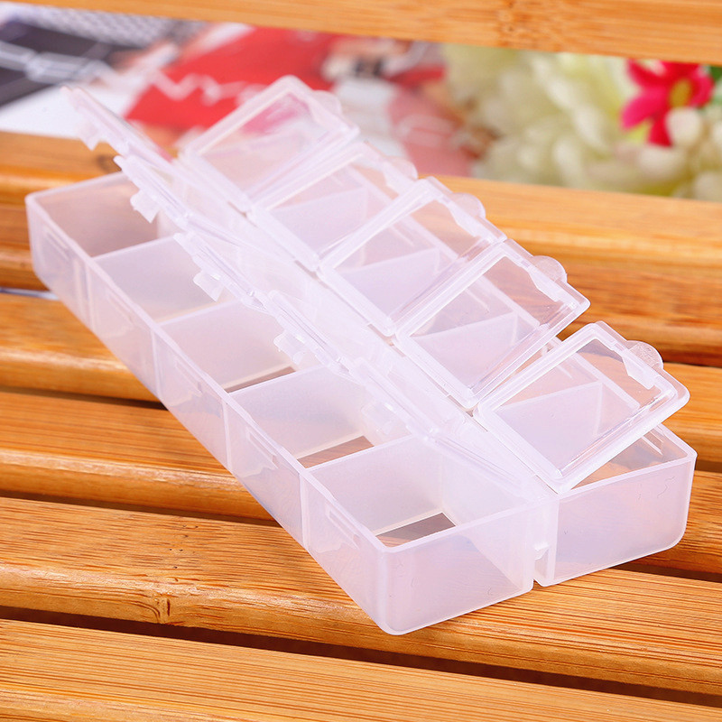 10 Grids Independent Adjustable Plastic Storage Box <font><b>For</b></font> Small Component Jewelry Tool Box <font><b>Bead</b></font> Pills <font><b>Organizer</b></font> Nail Art Tip Case image