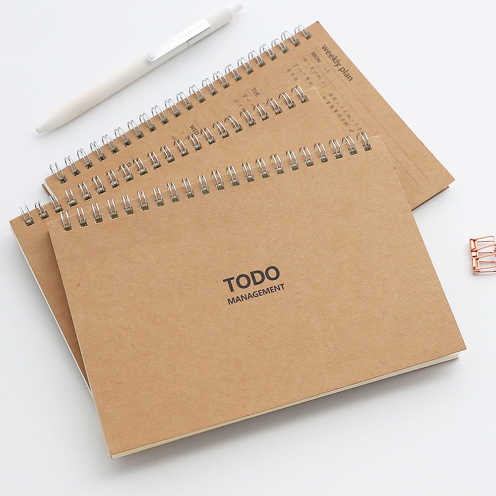 Daily Weekly To Do Planner <font><b>Spiral</b></font> Kraft <font><b>Notebook</b></font> Journal Grid Lined Stationery A6 <font><b>Binder</b></font> Notepad Office Stationery image