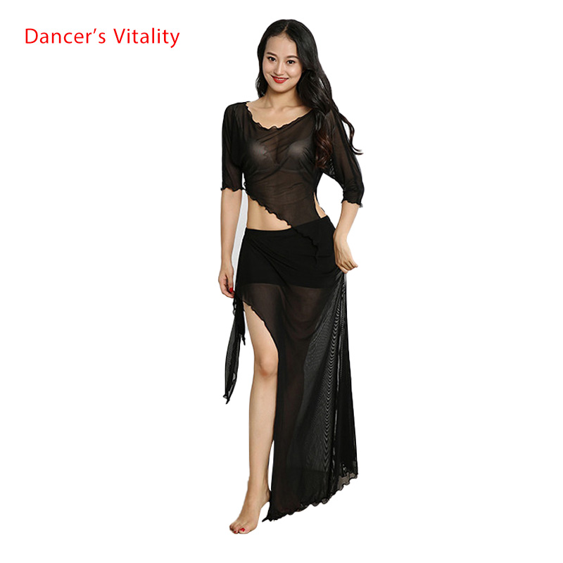 Cheap Belly Dance Suit Wholesale 2pcs(Top+Skirt) For Women Belly Dance Set Gauze Dancer's Costumes Free Shipping White,Black,