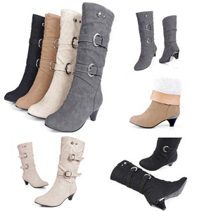 Image 4 - Shoes Woman Boots Women High Boots Autumn Winter Round Head Anti Slip Belt Buckle Cup Middle Tube Comfortale Female Casual Botas
