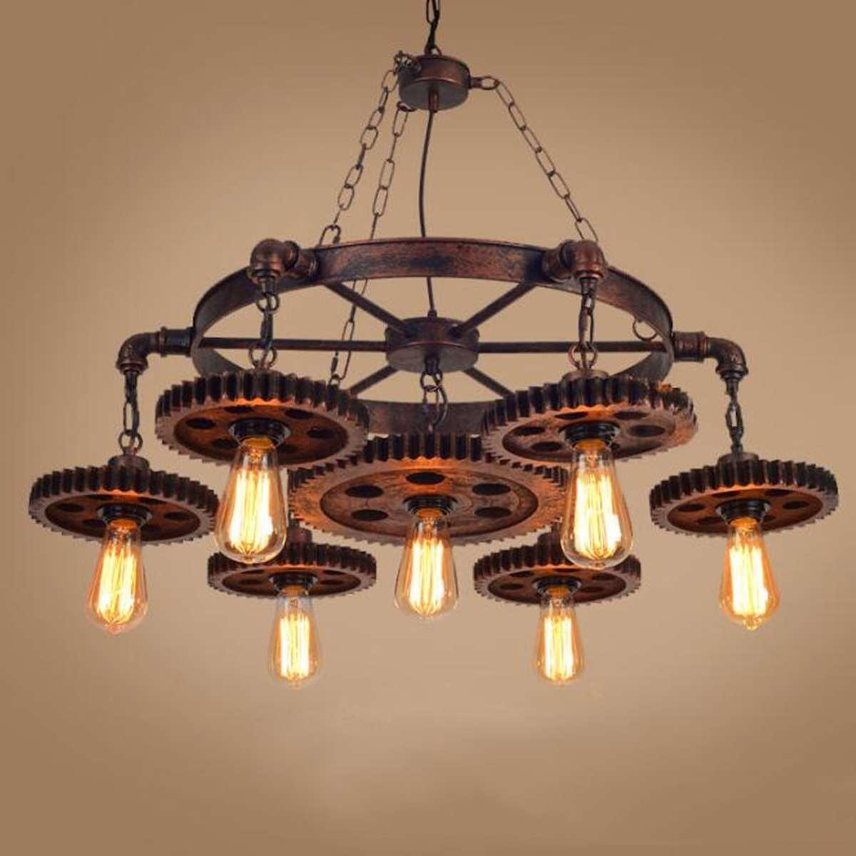 Retro pendant lamp Iron Fixture LED Ceiling Lamp Industrial Chandelier E27 Indoor Lighting for Loft Bar Steampunk Light Fixture