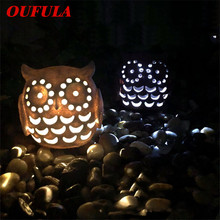 OUFULA Solar landscape light Owl lawn outdoor waterproof LED hollow resin crafts garden courtyard decoration