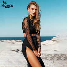 Ruoru sexy lace two piece set transparent see through 2 piece set women black color club outfits ensemble femme skirt set black solid color swimwears two piece outfits