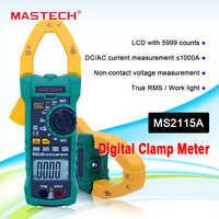 Medidor de pinza Digital MASTECH MS2115A AC/DC 1000A multímetro de abrazadera de rango automático medidor de corriente de abrazadera medido