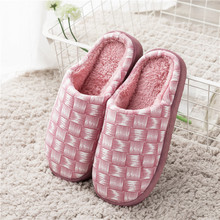 KushyShoo Women Slippers Bedroom Slippers Indoor Simple Plaid Winter Warm Cotton Couple Slippers Home Slippers Men Shoes