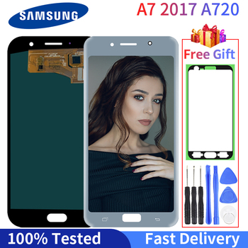 Super AMOLED LCD A7 2017 A720  LCD Display For Samsung Galaxy A720F SM-A720F Touch Screen Digitizer Assembly Replacement Apart qijun glitter bling flip stand case for samsung galaxy a7 a 7 a700f 2016 a710 2017 a720 sm a720f wallet phone cover coque