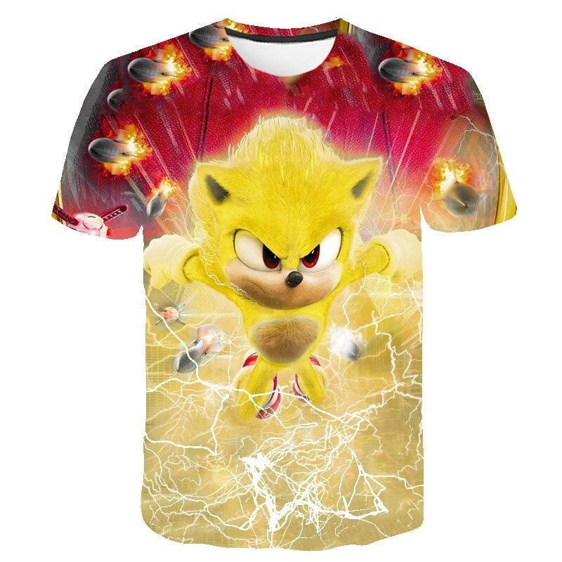 Модная футболка Sonic для детей и девочек, персонализированная футболка с рисунком, неформальная футболка с рисунком манги для детей