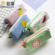 Automatic Pencil Box Fruit Design Pen Bag Big Space Pen Bag With  Ziplock Pencil Bag(15PCS)