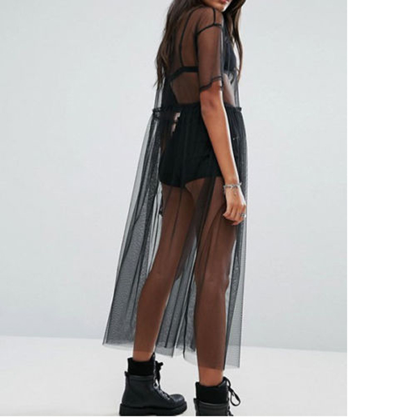 H10f4b1fdcd5a4f80abd78ac14cd351adV Women See Through Mesh Long Blouse Cover Up Shirt Dress Sheer Beach Cover Up Tulle Lace Transparent Streetwear Blusas Tee