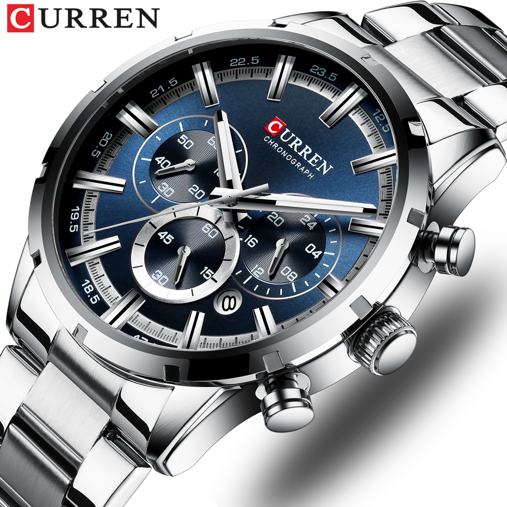CURREN Mens Watch Top Brand Luxury Fashion Business Quartz Watch Men Sports Full Steel Waterproof Black Clock Relogio Masculino