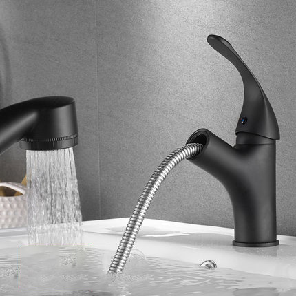 All copper faucet can pull basin faucet hot and cold wash face lift double outlet faucet black faucet pull-out type bathroom