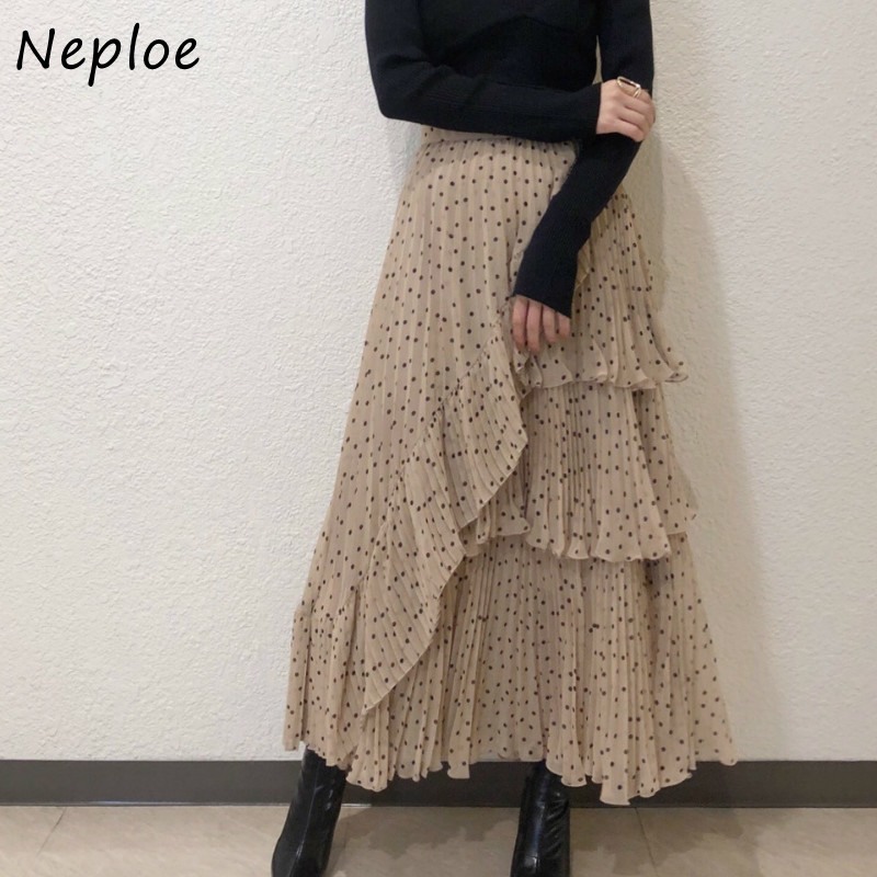 Neploe Japan Stil Vintage Polka Dot Frauen Rock Neue Unregelmäßigen Rüschen Femme Jupe Hohe Taille Bodycon Mid-länge Chiffon röcke