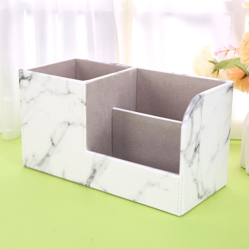 Multifunction Marble Leather Desk Stationery Organizer Pen Pencil Holder Storage R9UA