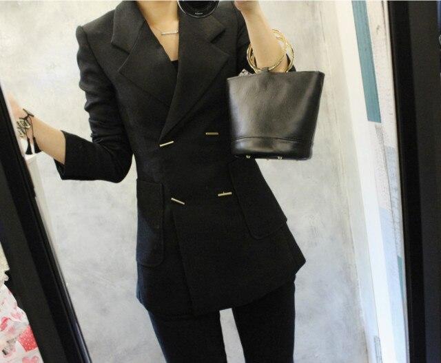 Women's Suit Pants Suit Autumn Korean Slim Double-Breasted Long Sleeve Blazer Casual Nine-pants Two-piece Suit 2019