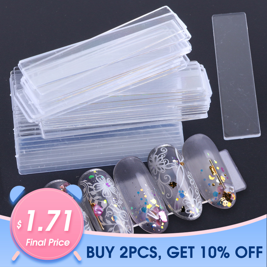 40pcs False Nail Tips Nail Art Display Stand Transparent Practice Acrylic Gel Polish Holder Strip Manicure Showing Tools JI151