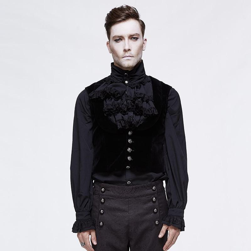 Diable mode noir chemise sans manches pour hommes gothique gilet simple boutonnage pour Cocktail