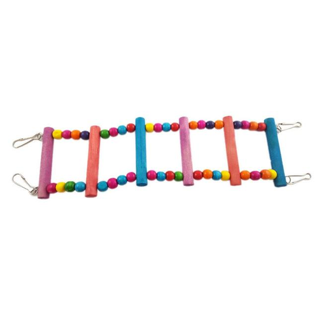 Colorful Parrot Ladder Wood Toys with Hanging Rope Parrot  5