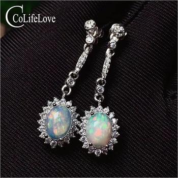 CoLife Jewelry 925 Silver Opal Drop Earrings for Daily Wear 6*8mm Natural Opal Dangler Fashion Silver Gemstone Dangler