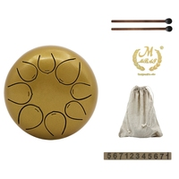 Mmbat 5 Inch Steel Tongue Drum Mini 8 Tone G Tune Hand Pan Drum Tank Hang Drum With Drumsticks Carrying Bag Percussion Instrumen