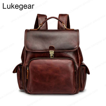 Genuine Leather Backpack Women Handmade Bags Vintage Style Wine Red Softback Backbags High Quality