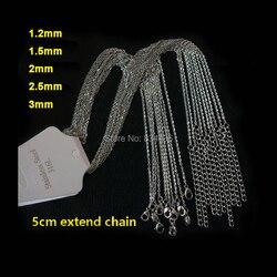 50pcs Good Quality 1.2 1.5 2 3mm 316L Stainless Steel Pendant Necklaces Link Chains Wholesale Women Men's DIY Jewelry Bulk Lot