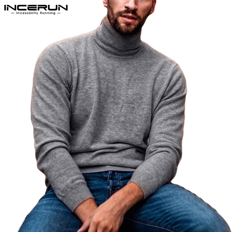 INCERUN 2019 Fashion Men Sweater Turtleneck Knitted Long Sleeve Solid Fitness Casual Thin Pullover Streetwear Men Sweaters S-5XL