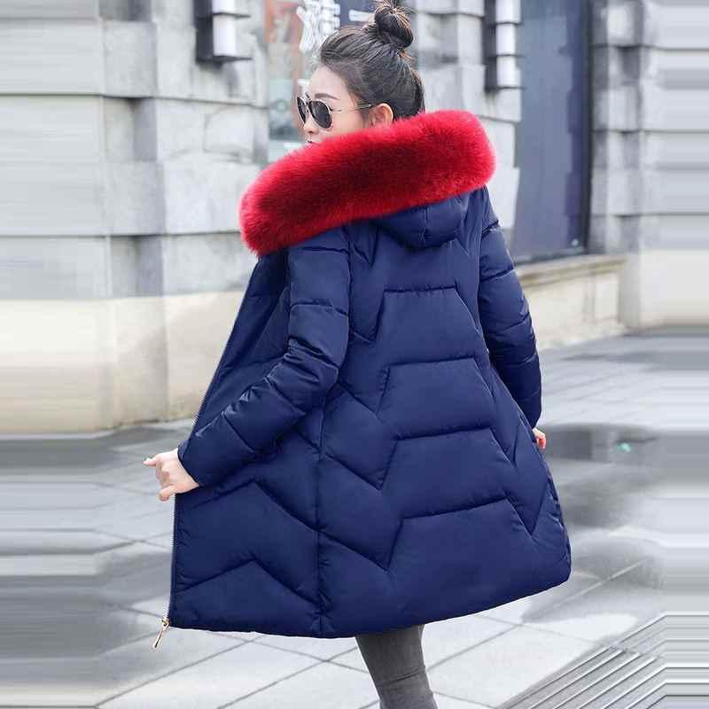 Plus Size S-6XL Quente do Inverno do revestimento das Mulheres Grandes Mulheres de Pele Longo Para Baixo Parkas Jaqueta de Inverno para As Mulheres Com Capuz Fino parkas casaco Feminino