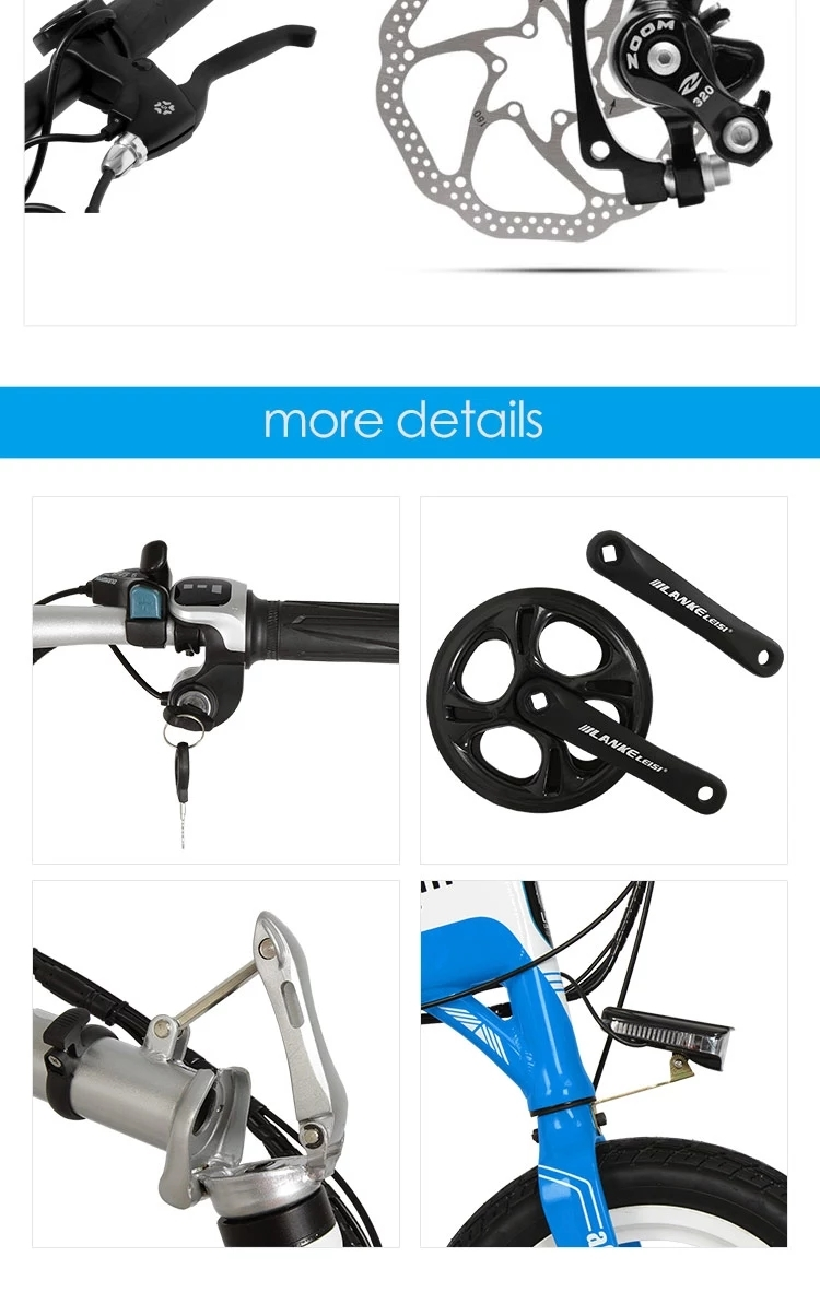"A6 EU Quality Level 14"" inch portable Folding Electric Mini Bicycle Adjustable  for Cycling with LG Lithium Battery 8"