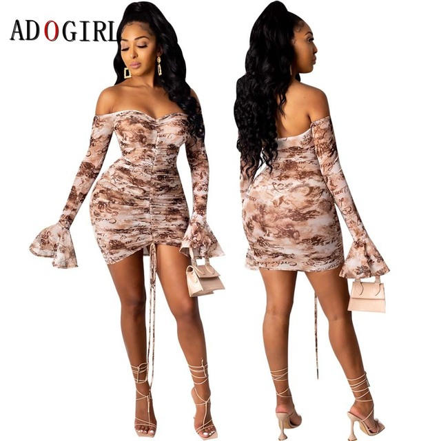Adogirl Snake Print Long Sleeve Dress Women Evening Party Night Dresses Sexy See Through Drawstring Bodycon Slim Mini Dress 2