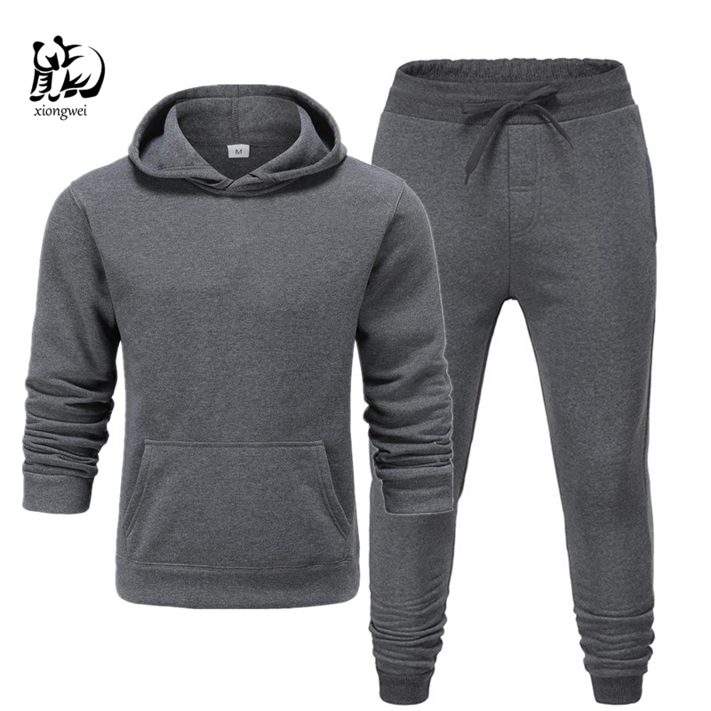 2019 Winter Solid Hoodie Suit New Men's Casual Tracksuits Mens Hip Hop Coat Pullover Sweatshirt Men Hoodiessuit  +blacktrousers