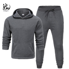 2019 Winter Solid Hoodie suit New Men's Casual Tracksuits Mens Hip Hop Coat Pullover Sweatshirt Men Hoodiessuit +blacktrousers