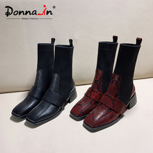 Donna-in Knitting Stretch Sock Boots Woman Mid Heels Square Toe Snake Prints Genuine Leather Mid Calf Boots Women 2019 Winter(China)