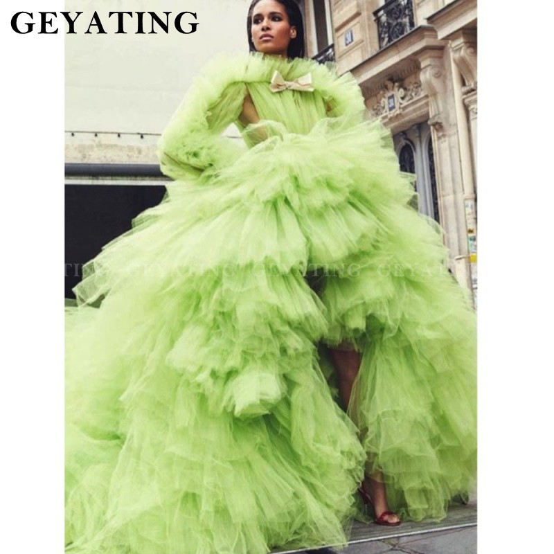 Lemon Green Tulle High Low Prom Dress Long Sleeves Tiered Court Train Pageant Dresses 2019 High Neck Women Formal Evening Gowns