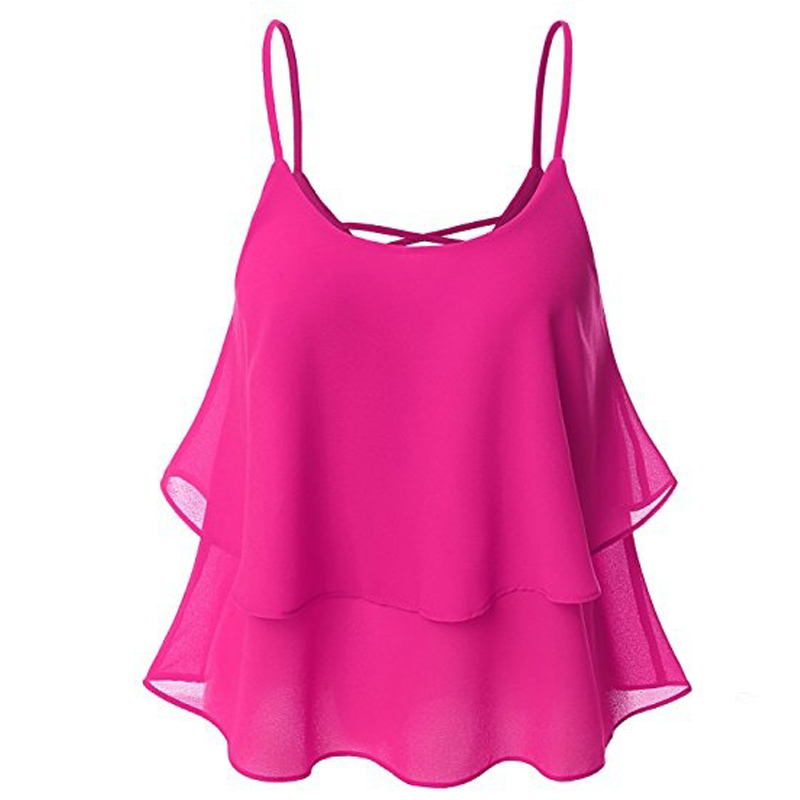 Celmia Women Casual Solid Sleeveless Ruffles Lace Up Tanks Tops Sexy Spaghetti Strap O Neck Summer Camis Chiffon Shirt Plus Size