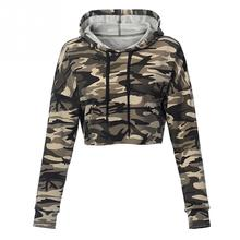 Autumn New Women Long Sleeve Sweatershirt Casual Camouflage Hoodies Sweatershirts Pullovers Short Crop Hoodie Party Fashion