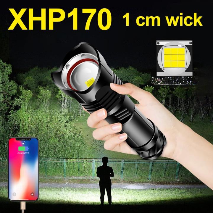 Najmocniejsza XHP170 LED latarka USB 18650 akumulatorowa latarnia LED xhp90 p70 latarka lampa robocza światło zewnętrzne polowanie lanterna