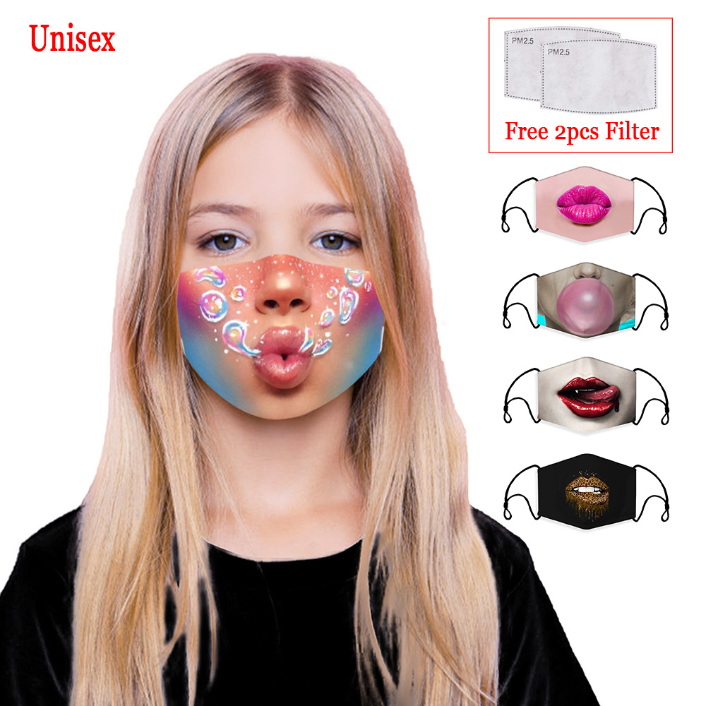 New 3D Printing Color Reusable Unisex Cotton Child Mouth Mask Washable Anti Dust Face Mask Activated Carbon PM2.5 Filter Masks