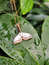 ANI 18K Solid Rose Gold Necklace Natural Pearl Shell Jewelry Women Engagement Necklace Dolphin Tail Gold Pendant Mermaid Shape